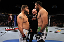 LAS VEGAS, NV - FEBRUARY 04:  (L-R) Roy Nelson and Fabricio Werdum face off before their fight during the UFC 143 event at Mandalay Bay Events Center on February 4, 2012 in Las Vegas, Nevada.  (Photo by Josh Hedges/Zuffa LLC/Zuffa LLC via Getty Images) *** Local Caption *** Fabricio Werdum; Roy Nelson