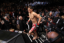 LAS VEGAS - FEBRUARY 04:  Nick Diaz enters the Octagon before his fight with Carlos Condit during the UFC 143 event at Mandalay Bay Events Center on February 4, 2012 in Las Vegas, Nevada.  (Photo by Nick Laham/Zuffa LLC/Zuffa LLC via Getty Images) *** Local Caption *** Nick Diaz; Carlos Condit