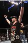 LAS VEGAS - FEBRUARY 04:  Carlos Condit celebrates his win over Nick Diaz during the UFC 143 event at Mandalay Bay Events Center on February 4, 2012 in Las Vegas, Nevada.  (Photo by Nick Laham/Zuffa LLC/Zuffa LLC via Getty Images) *** Local Caption *** Carlos Condit