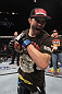 LAS VEGAS - FEBRUARY 04:  Carlos Condit reacts to his win over Nick Diaz during the UFC 143 event at Mandalay Bay Events Center on February 4, 2012 in Las Vegas, Nevada.  (Photo by Nick Laham/Zuffa LLC/Zuffa LLC via Getty Images) *** Local Caption *** Carlos Condit; Nick Diaz