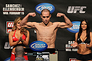 OMAHA, NE - FEBRUARY 14:  Justin Salas weighs in during the UFC on FUEL TV weigh in event at Omaha Civic Auditorium on February 14, 2012 in Omaha, Nebraska.  (Photo by Josh Hedges/Zuffa LLC/Zuffa LLC via Getty Images) *** Local Caption *** Justin Salas