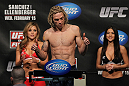 OMAHA, NE - FEBRUARY 14:  Jonathan Brookins weighs in during the UFC on FUEL TV weigh in event at Omaha Civic Auditorium on February 14, 2012 in Omaha, Nebraska.  (Photo by Josh Hedges/Zuffa LLC/Zuffa LLC via Getty Images) *** Local Caption *** Jonathan Brookins