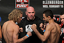 OMAHA, NE - FEBRUARY 14:  (L-R) Featherweight opponents Jonathan Brookins and Vagner Rocha face off after weighing in during the UFC on FUEL TV weigh in event at Omaha Civic Auditorium on February 14, 2012 in Omaha, Nebraska.  (Photo by Josh Hedges/Zuffa LLC/Zuffa LLC via Getty Images) *** Local Caption *** Vagner Rocha; Jonathan Brookins; Dana White