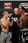 OMAHA, NE - FEBRUARY 14:  (L-R) Bantamweight opponents TJ Dillashaw and Walel Watson face off after weighing in during the UFC on FUEL TV weigh in event at Omaha Civic Auditorium on February 14, 2012 in Omaha, Nebraska.  (Photo by Josh Hedges/Zuffa LLC/Zuffa LLC via Getty Images) *** Local Caption *** TJ Dillashaw; Walel Watson; Dana White