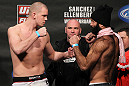 OMAHA, NE - FEBRUARY 14:  (L-R) Heavyweight opponents Stefan Struve and Dave Herman face off after weighing in during the UFC on FUEL TV weigh in event at Omaha Civic Auditorium on February 14, 2012 in Omaha, Nebraska.  (Photo by Josh Hedges/Zuffa LLC/Zuffa LLC via Getty Images) *** Local Caption *** Stefan Struve; Dave Herman; Dana White