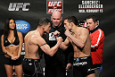 OMAHA, NE - FEBRUARY 14:  (L-R) Welterweight opponents Diego Sanchez and Jake Ellenberger face off after weighing in during the UFC on FUEL TV weigh in event at Omaha Civic Auditorium on February 14, 2012 in Omaha, Nebraska.  (Photo by Josh Hedges/Zuffa LLC/Zuffa LLC via Getty Images) *** Local Caption *** Diego Sanchez; Jake Ellenberger; Dana White