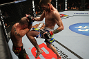 OMAHA, NE - FEBRUARY 15:  (R-L) Tim Means delivers a knee strike against Bernardo Magalhaes during the UFC on FUEL TV event at Omaha Civic Auditorium on February 15, 2012 in Omaha, Nebraska.  (Photo by Josh Hedges/Zuffa LLC/Zuffa LLC via Getty Images) *** Local Caption *** Tim Means; Bernardo Magalhaes