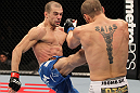 OMAHA, NE - FEBRUARY 15:  (L-R) Anton Kuivanen kicks Justin Salas during the UFC on FUEL TV event at Omaha Civic Auditorium on February 15, 2012 in Omaha, Nebraska.  (Photo by Josh Hedges/Zuffa LLC/Zuffa LLC via Getty Images) *** Local Caption *** Anton Kuivanen; Justin Salas