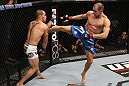 OMAHA, NE - FEBRUARY 15:  (R-L) Anton Kuivanen kicks Justin Salas during the UFC on FUEL TV event at Omaha Civic Auditorium on February 15, 2012 in Omaha, Nebraska.  (Photo by Josh Hedges/Zuffa LLC/Zuffa LLC via Getty Images) *** Local Caption *** Anton Kuivanen; Justin Salas