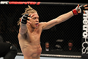 OMAHA, NE - FEBRUARY 15:  Jonathan Brookins reacts after knocking out Vagner Rocha during the UFC on FUEL TV event at Omaha Civic Auditorium on February 15, 2012 in Omaha, Nebraska.  (Photo by Josh Hedges/Zuffa LLC/Zuffa LLC via Getty Images) *** Local Caption *** Jonathan Brookins