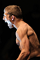 OMAHA, NE - FEBRUARY 15:  TJ Dillashaw prepares to enter the Octagon before his bout against Walel Watson during the UFC on FUEL TV event at Omaha Civic Auditorium on February 15, 2012 in Omaha, Nebraska.  (Photo by Josh Hedges/Zuffa LLC/Zuffa LLC via Getty Images) *** Local Caption *** TJ Dillashaw