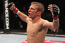 OMAHA, NE - FEBRUARY 15:  TJ Dillashaw reacts after defeating Walel Watson during the UFC on FUEL TV event at Omaha Civic Auditorium on February 15, 2012 in Omaha, Nebraska.  (Photo by Josh Hedges/Zuffa LLC/Zuffa LLC via Getty Images) *** Local Caption *** TJ Dillashaw
