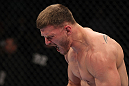 OMAHA, NE - FEBRUARY 15:  Stipe Miocic reacts after knocking out Phil De Fries during the UFC on FUEL TV event at Omaha Civic Auditorium on February 15, 2012 in Omaha, Nebraska.  (Photo by Josh Hedges/Zuffa LLC/Zuffa LLC via Getty Images) *** Local Caption *** Stipe Miocic