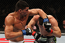OMAHA, NE - FEBRUARY 15:  (L-R) Ronny Markes punches Aaron Simpson during the UFC on FUEL TV event at Omaha Civic Auditorium on February 15, 2012 in Omaha, Nebraska.  (Photo by Josh Hedges/Zuffa LLC/Zuffa LLC via Getty Images) *** Local Caption *** Aaron Simpson; Ronny Markes