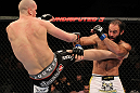 OMAHA, NE - FEBRUARY 15:  (L-R) Stefan Struve kicks Dave Herman during the UFC on FUEL TV event at Omaha Civic Auditorium on February 15, 2012 in Omaha, Nebraska.  (Photo by Josh Hedges/Zuffa LLC/Zuffa LLC via Getty Images) *** Local Caption *** Stefan Struve; Dave Herman
