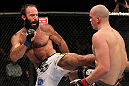 OMAHA, NE - FEBRUARY 15:  (L-R) Dave Herman kicks Stefan Struve during the UFC on FUEL TV event at Omaha Civic Auditorium on February 15, 2012 in Omaha, Nebraska.  (Photo by Josh Hedges/Zuffa LLC/Zuffa LLC via Getty Images) *** Local Caption *** Stefan Struve; Dave Herman