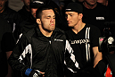 OMAHA, NE - FEBRUARY 15:  Jake Ellenberger enters the arena before his bout against Diego Sanchez during the UFC on FUEL TV event at Omaha Civic Auditorium on February 15, 2012 in Omaha, Nebraska.  (Photo by Josh Hedges/Zuffa LLC/Zuffa LLC via Getty Images) *** Local Caption *** Jake Ellenberger