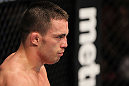 OMAHA, NE - FEBRUARY 15:  Jake Ellenberger stands in the Octagon before the third round of his bout against Diego Sanchez during the UFC on FUEL TV event at Omaha Civic Auditorium on February 15, 2012 in Omaha, Nebraska.  (Photo by Josh Hedges/Zuffa LLC/Zuffa LLC via Getty Images) *** Local Caption *** Jake Ellenberger