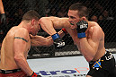 OMAHA, NE - FEBRUARY 15:  (R-L) Jake Ellenberger elbows Diego Sanchez during the UFC on FUEL TV event at Omaha Civic Auditorium on February 15, 2012 in Omaha, Nebraska.  (Photo by Josh Hedges/Zuffa LLC/Zuffa LLC via Getty Images) *** Local Caption *** Jake Ellenberger; Diego Sanchez