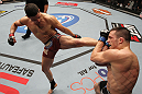 OMAHA, NE - FEBRUARY 15:  (L-R) Diego Sanchez kicks Jake Ellenberger during the UFC on FUEL TV event at Omaha Civic Auditorium on February 15, 2012 in Omaha, Nebraska.  (Photo by Josh Hedges/Zuffa LLC/Zuffa LLC via Getty Images) *** Local Caption *** Jake Ellenberger; Diego Sanchez