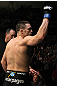 OMAHA, NE - FEBRUARY 15:  Jake Ellenberger salutes his hometown crowd before his bout against Diego Sanchez during the UFC on FUEL TV event at Omaha Civic Auditorium on February 15, 2012 in Omaha, Nebraska.  (Photo by Josh Hedges/Zuffa LLC/Zuffa LLC via Getty Images) *** Local Caption *** Jake Ellenberger