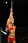 OMAHA, NE - FEBRUARY 15:  UFC Octagon Girl Brittney Palmer introduces round one before the Dillashaw v Watson bout during the UFC on FUEL TV event at Omaha Civic Auditorium on February 15, 2012 in Omaha, Nebraska.  (Photo by Josh Hedges/Zuffa LLC/Zuffa LLC via Getty Images) *** Local Caption *** Brittney Palmer
