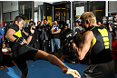 TOKYO, JAPAN - FEBRUARY 22:  Yoshihiro Akiyama (R) and Dong Hyun Kim (L) work out for the media during the UFC 144 open workouts at Gold's Gym on February 22, 2012 in Tokyo, Japan.  (Photo by Josh Hedges/Zuffa LLC/Zuffa LLC via Getty Images) *** Local Caption *** Yoshihiro Akiyama; Dong Hyun Kim