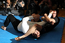 TOKYO, JAPAN - FEBRUARY 22:  Jake Shields works out for the media during the UFC 144 open workouts at Gold&#39;s Gym on February 22, 2012 in Tokyo, Japan.  (Photo by Josh Hedges/Zuffa LLC/Zuffa LLC via Getty Images) *** Local Caption *** Jake Shields