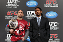 TOKYO, JAPAN - FEBRUARY 23:  (L-R) UFC Lightweight Champion Frankie Edgar and challenger Benson Henderson pose for photos at the final UFC 144 pre-fight press conference at the Ritz-Carlton Hotel on February 23, 2012 in Tokyo, Japan.  (Photo by Josh Hedges/Zuffa LLC/Zuffa LLC via Getty Images) *** Local Caption *** Frankie Edgar; Benson Henderson