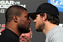 "TOKYO, JAPAN - FEBRUARY 23:  (L-R) Light Heavyweight opponents Quinton ""Rampage"" Jackson and Ryan Bader face off at the final UFC 144 pre-fight press conference at the Ritz-Carlton Hotel on February 23, 2012 in Tokyo, Japan.  (Photo by Josh Hedges/Zuffa LLC/Zuffa LLC via Getty Images) *** Local Caption *** Quinton Jackson; Ryan Bader"