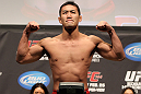 SAITAMA, JAPAN - FEBRUARY 25:  Yushin Okami weighs in during the official UFC 144 weigh in at the Saitama Super Arena on February 25, 2012 in Saitama, Japan.  (Photo by Josh Hedges/Zuffa LLC/Zuffa LLC via Getty Images) *** Local Caption *** Yushin Okami