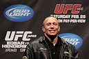 SAITAMA, JAPAN - FEBRUARY 25:  UFC Welterweight Champion Georges St-Pierre takes part in a Q&A session before the official UFC 144 weigh in at the Saitama Super Arena on February 25, 2012 in Saitama, Japan.  (Photo by Josh Hedges/Zuffa LLC/Zuffa LLC via Getty Images) *** Local Caption *** Georges St-Pierre