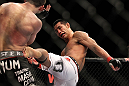 SAITAMA, JAPAN - FEBRUARY 26:  (R-L) RIki Fukuda kicks Steve Cantwell during the UFC 144 event at Saitama Super Arena on February 26, 2012 in Saitama, Japan.  (Photo by Josh Hedges/Zuffa LLC/Zuffa LLC via Getty Images) *** Local Caption *** Riki Fukuda; Steve Cantwell
