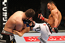 SAITAMA, JAPAN - FEBRUARY 26:  (R-L) RIki Fukuda kicks Steve Cantwell during the UFC 144 event at Saitama Super Arena on February 26, 2012 in Saitama, Japan.  (Photo by Al Bello/Zuffa LLC/Zuffa LLC via Getty Images) *** Local Caption *** Riki Fukuda; Steve Cantwell
