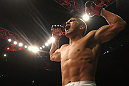 SAITAMA, JAPAN - FEBRUARY 26:  Anthony Pettis reacts after knocking out Joe Lauzon during the UFC 144 event at Saitama Super Arena on February 26, 2012 in Saitama, Japan.  (Photo by Al Bello/Zuffa LLC/Zuffa LLC via Getty Images) *** Local Caption *** Anthony Pettis
