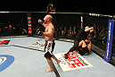 SAITAMA, JAPAN - FEBRUARY 26:  Tim Boetsch reacts after knocking out Yushin Okami during the UFC 144 event at Saitama Super Arena on February 26, 2012 in Saitama, Japan.  (Photo by Al Bello/Zuffa LLC/Zuffa LLC via Getty Images) *** Local Caption *** Tim Boetsch