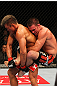 SAITAMA, JAPAN - FEBRUARY 26:  (R-L) Jake Shields attempts to take down Yoshihiro Akiyama during the UFC 144 event at Saitama Super Arena on February 26, 2012 in Saitama, Japan.  (Photo by Al Bello/Zuffa LLC/Zuffa LLC via Getty Images) *** Local Caption *** Yoshihiro Akiyama; Jake Shields