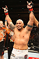 SAITAMA, JAPAN - FEBRUARY 26:  Mark Hunt reacts after defeating Cheick Kongo during the UFC 144 event at Saitama Super Arena on February 26, 2012 in Saitama, Japan.  (Photo by Al Bello/Zuffa LLC/Zuffa LLC via Getty Images) *** Local Caption *** Mark Hunt