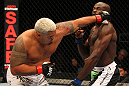 SAITAMA, JAPAN - FEBRUARY 26:  (L-R) Mark Hunt punches Cheick Kongo during the UFC 144 event at Saitama Super Arena on February 26, 2012 in Saitama, Japan.  (Photo by Al Bello/Zuffa LLC/Zuffa LLC via Getty Images) *** Local Caption *** Mark Hunt; Cheick Kongo