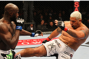 SAITAMA, JAPAN - FEBRUARY 26:  (R-L) Mark Hunt kicks Cheick Kongo during the UFC 144 event at Saitama Super Arena on February 26, 2012 in Saitama, Japan.  (Photo by Al Bello/Zuffa LLC/Zuffa LLC via Getty Images) *** Local Caption *** Mark Hunt; Cheick Kongo