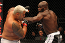 SAITAMA, JAPAN - FEBRUARY 26:  (R-L) Cheick Kongo punches Mark Hunt during the UFC 144 event at Saitama Super Arena on February 26, 2012 in Saitama, Japan.  (Photo by Al Bello/Zuffa LLC/Zuffa LLC via Getty Images) *** Local Caption *** Mark Hunt; Cheick Kongo