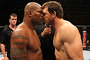 "SAITAMA, JAPAN - FEBRUARY 26:  (L-R) Opponents Quinton ""Rampage"" Jackson and Ryan Bader receive final instructions from the referee before their bout during the UFC 144 event at Saitama Super Arena on February 26, 2012 in Saitama, Japan.  (Photo by Al Bello/Zuffa LLC/Zuffa LLC via Getty Images) *** Local Caption *** Quinton Jackson; Ryan Bader"