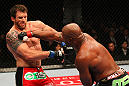 "SAITAMA, JAPAN - FEBRUARY 26:  (R-L) Quinton ""Rampage"" Jackson punches Ryan Bader during the UFC 144 event at Saitama Super Arena on February 26, 2012 in Saitama, Japan.  (Photo by Al Bello/Zuffa LLC/Zuffa LLC via Getty Images) *** Local Caption *** Quinton Jackson; Ryan Bader"