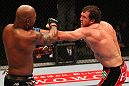 SAITAMA, JAPAN - FEBRUARY 26:  (R-L) Ryan Bader punches Quinton &quot;Rampage&quot; Jackson during the UFC 144 event at Saitama Super Arena on February 26, 2012 in Saitama, Japan.  (Photo by Al Bello/Zuffa LLC/Zuffa LLC via Getty Images) *** Local Caption *** Quinton Jackson; Ryan Bader