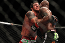 "SAITAMA, JAPAN - FEBRUARY 26:  (L-R) Ryan Bader attempts to take down Quinton ""Rampage"" Jackson during the UFC 144 event at Saitama Super Arena on February 26, 2012 in Saitama, Japan.  (Photo by Josh Hedges/Zuffa LLC/Zuffa LLC via Getty Images) *** Local Caption *** Quinton Jackson; Ryan Bader"