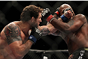 SAITAMA, JAPAN - FEBRUARY 26:  (L-R) Ryan Bader punches Quinton &quot;Rampage&quot; Jackson during the UFC 144 event at Saitama Super Arena on February 26, 2012 in Saitama, Japan.  (Photo by Josh Hedges/Zuffa LLC/Zuffa LLC via Getty Images) *** Local Caption *** Quinton Jackson; Ryan Bader