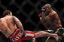 "SAITAMA, JAPAN - FEBRUARY 26:  (L-R) Ryan Bader kicks Quinton ""Rampage"" Jackson during the UFC 144 event at Saitama Super Arena on February 26, 2012 in Saitama, Japan.  (Photo by Josh Hedges/Zuffa LLC/Zuffa LLC via Getty Images) *** Local Caption *** Quinton Jackson; Ryan Bader"