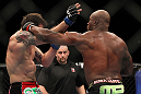 "SAITAMA, JAPAN - FEBRUARY 26:  (R-L) Quinton ""Rampage"" Jackson punches Ryan Bader during the UFC 144 event at Saitama Super Arena on February 26, 2012 in Saitama, Japan.  (Photo by Josh Hedges/Zuffa LLC/Zuffa LLC via Getty Images) *** Local Caption *** Quinton Jackson; Ryan Bader"