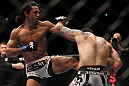 SAITAMA, JAPAN - FEBRUARY 26:  (L-R) Benson Henderson kicks Frankie Edgar during the UFC 144 event at Saitama Super Arena on February 26, 2012 in Saitama, Japan.  (Photo by Josh Hedges/Zuffa LLC/Zuffa LLC via Getty Images) *** Local Caption *** Frankie Edgar; Benson Henderson