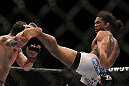SAITAMA, JAPAN - FEBRUARY 26:  (R-L) Benson Henderson kicks Frankie Edgar during the UFC 144 event at Saitama Super Arena on February 26, 2012 in Saitama, Japan.  (Photo by Josh Hedges/Zuffa LLC/Zuffa LLC via Getty Images) *** Local Caption *** Frankie Edgar; Benson Henderson